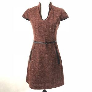 KENSIE *NWOT* Wool Blend Dress w/ Leather Trim